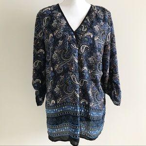 DR2 Blue Paisley Floral Blouse Top Shirt XL